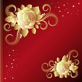 Red background with golden roses, vector illustration.