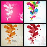 Set of four flower backgrounds with different colors.