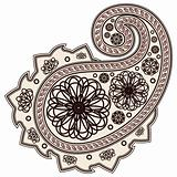 Vector Hand-Drawn Abstract Henna (mehndi) Paisley Doodle Vector Illustration Design Elements.
