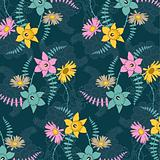 Seamless background with colored flowers.