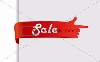 Red sale with finger showing direction.