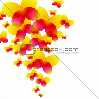 background of multicolored butterflies - vector