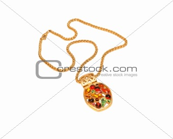 Chain with a medallion isolated on white