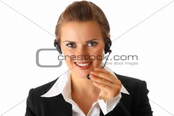 smiling modern business woman with headset