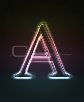 Glowing font. Shiny letter A
