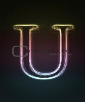 Glowing font. Shiny letter U.