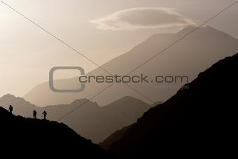 Small figures on the mountain range