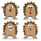 Set of four cartoon hedgehogs
