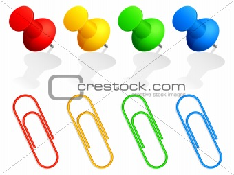 Pins and paper clips.