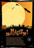 Halloween invitation or card in orange design