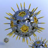 Close-up of chrome-golden viruses hovering over blue surface