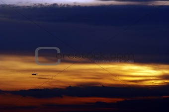 aircraft at sunset