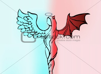 Background with women angel and demon