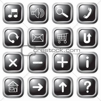 Black square buttons.