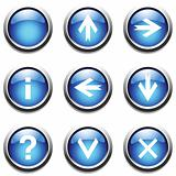 Blue buttons with signs.