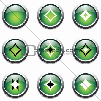 Green buttons with decoration.