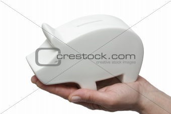 one piggy bank in a hand