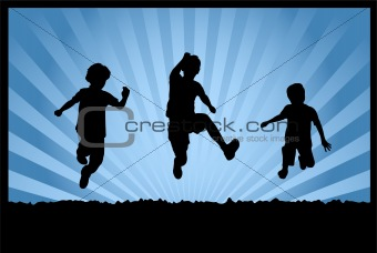children jumping on abstract background