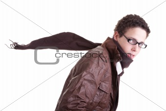 Portrait of handsome young man, with scarf fluttering, isolated on white. Studio shot