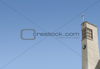 Church Steeple with clock and cross