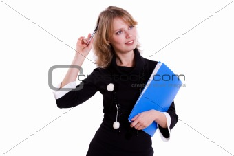 Business woman with pen.