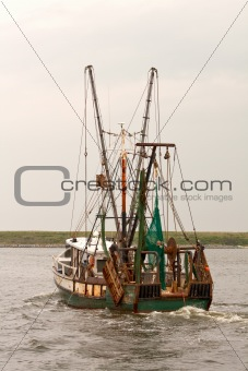 Fishing trawler on Pamlico Sound vertical
