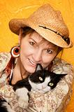 Pretty Western Woman with cat