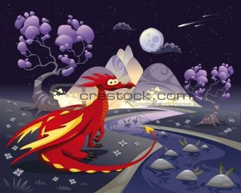 Dragon in landscape in the night.