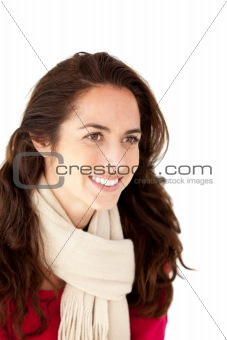 Smiling hispanic woman wearing a scarf