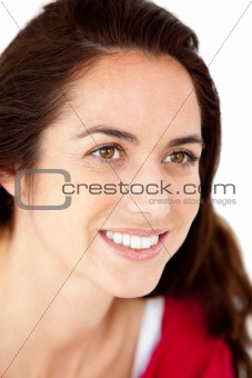 Portrait of a delighted hispanic woman smiling