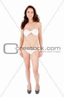 Beautiful hispanic woman wearing bikini