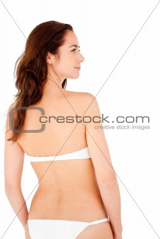 Positive hispanic woman wearing bikini