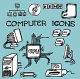Set of hand-drawn computer icons