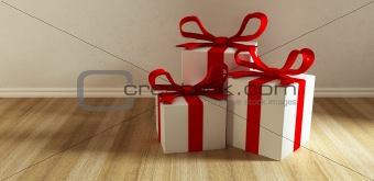 three gift on floor