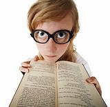 Funny woman in big glasses with book