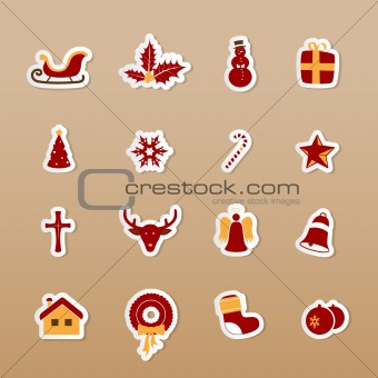 Colorful Christmas icons. Vector