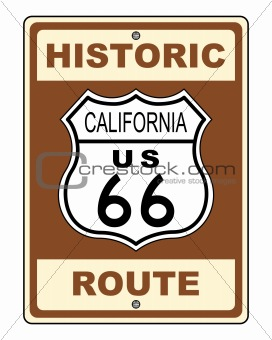 California Historic Route US 66 Sign Illustration