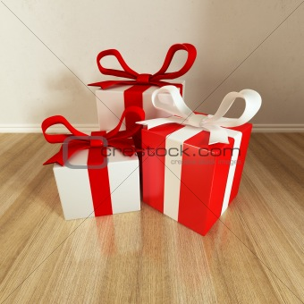 three gift on floor