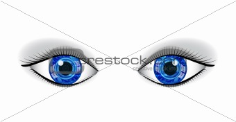 Pair of human blue technology eyes with reflection.