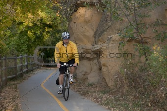 riding a bike on scenic trail