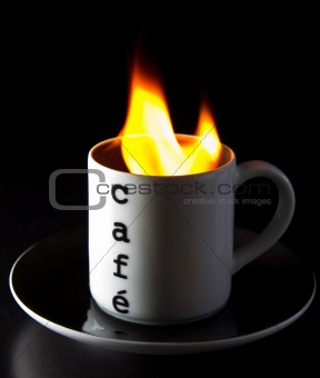 A cup of burning coffee