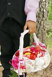Wedding, basket of petals and boy