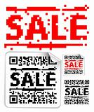 Set of sale labels with qr codes
