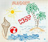Summer doodle elements