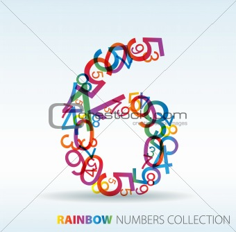Number six made from colorful numbers