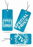 Set of blue crumpled paper tags