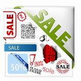 Set of colorful sale labels