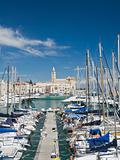 Panoramic view of Trani touristic port. Apulia.