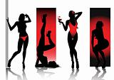 Sexy showgirls silhouettes isolated on white background