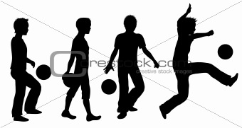 Boys Playing Ball Silhouette Set